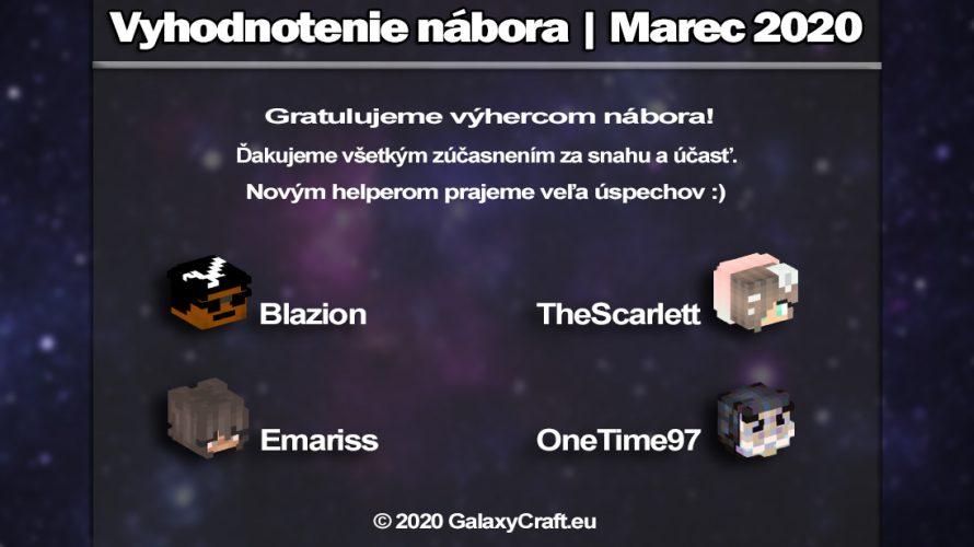 Vyhodnotenie Nábora Marec 2020